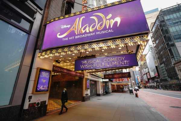 A view of the Broadway show Aladdin in New York City USA during coronavirus pandemic on April 27, 2020. (Photo by John Nacion/NurPhoto)