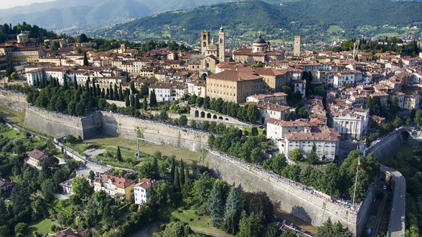 aerial view of Bergamo in Italy