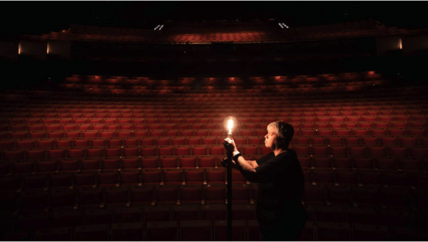 Photograph: Daniel Boud Sydney Opera House's Ange Sullivan installs a ghost light